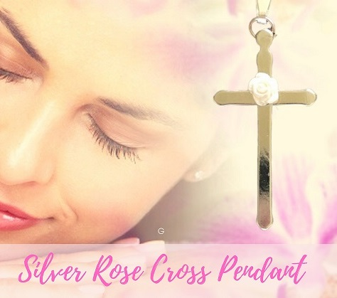 Silver Cross Pendant With Rose