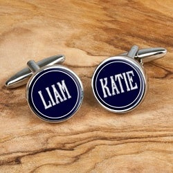 Deco Cufflinks with Childs Names