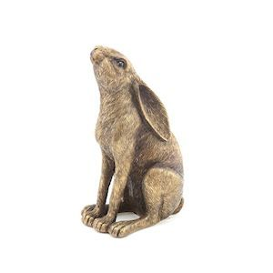 Bronzed Hare Sat Staring Up At The Sky 18cm