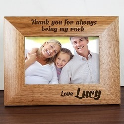 Personalised My Dad Is My Rock Engraved Photo Frame