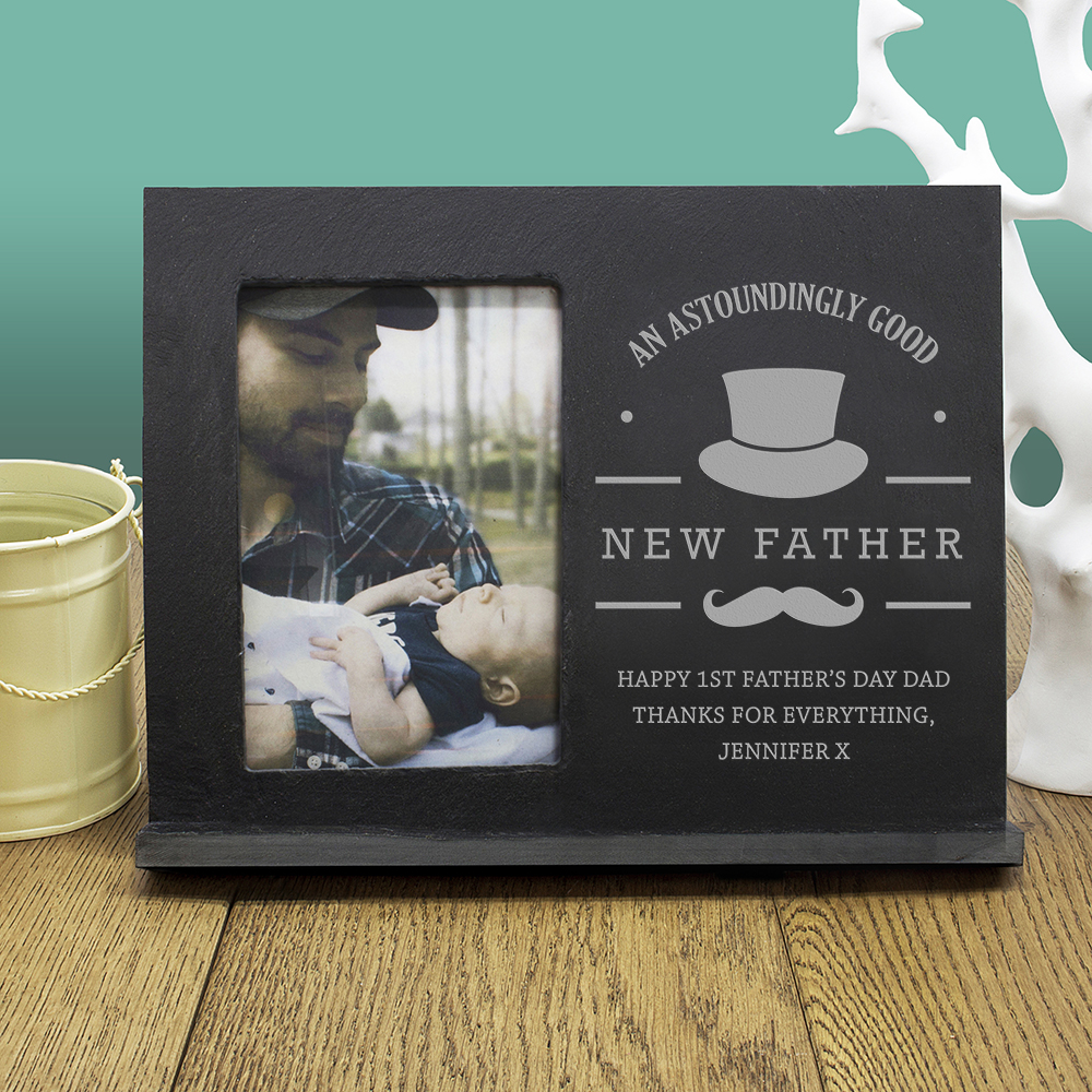 An Astoundingly Good New Father Slate Frame