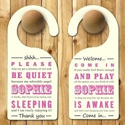 Personalised Baby Door Hanger in Pink