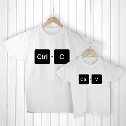 Personalised Daddy and Me Copy Paste White T Shirts