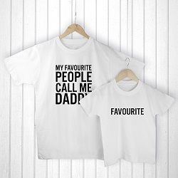 Personalised Daddy And Me Favourite People White T Shirts