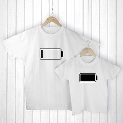 Personalised Daddy and Me Low Battery White T Shirts