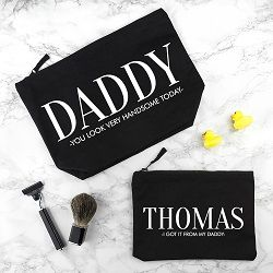 Personalised Daddy and Me Black Wash Bags