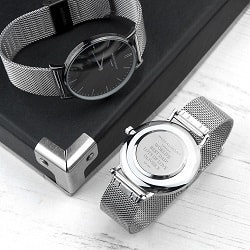Personalised Mens Metallic Silver Watch With Black Face