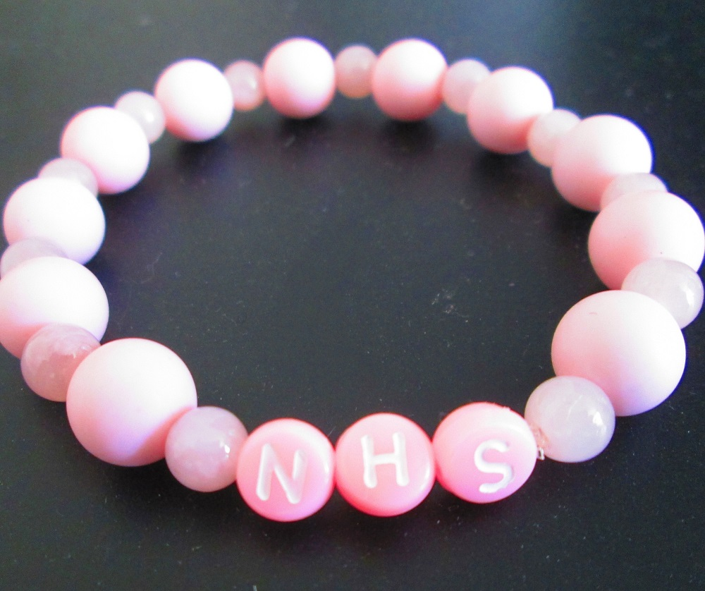 Handmade NHS Pink Bead Bracelet With NHS Wording