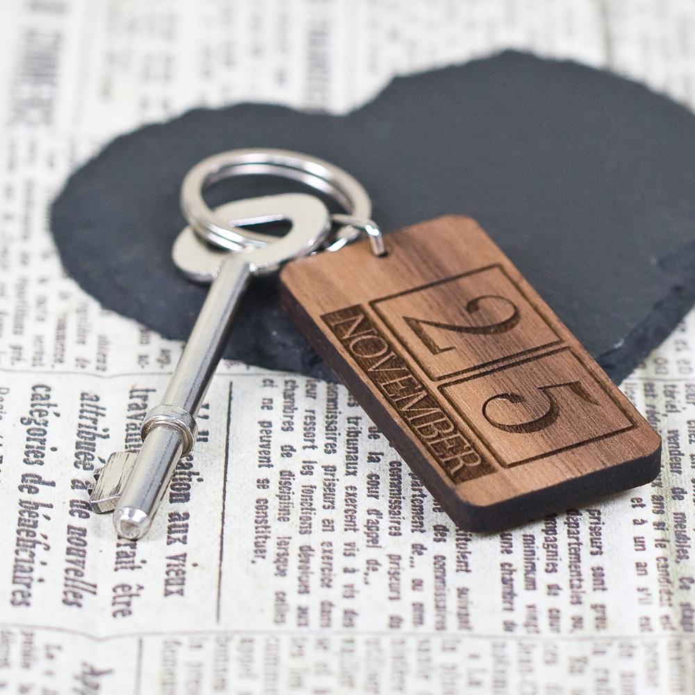 Custom Special Date Keyring - Rectangle Calendar