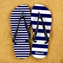 Striped Personalised Flip Flops in Blue